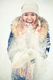Woman in wintry coat Stock Image