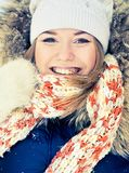 Woman in wintry coat Stock Photography