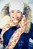 Woman in wintry coat stock photo