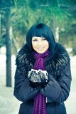 Woman in wintry coat Royalty Free Stock Photos