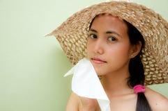 Woman wipe sweat Stock Photo