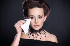 Woman wipes tears Stock Photo