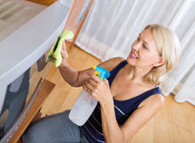 Woman wiping the dust TV Stock Image
