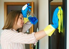 Very tired of cleaning the house. Stock Images
