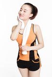 Woman wiping sweat Royalty Free Stock Photo