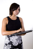 Woman with Wireless Keyboard 1 Royalty Free Stock Photos