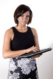 Woman with Wireless Keyboard 2 Royalty Free Stock Images