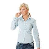 Woman with wireless phone Royalty Free Stock Photography