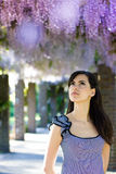 Woman with wisteria flowers. Spring Royalty Free Stock Photos