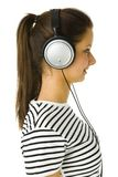 Woman wit headset Stock Images
