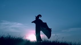 Sorceress in hat and cloak holding besom posing on the field. Woman in a witch costume and broom have fun slow motion view on evening blue sky halloween holiday stock video footage