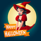 Woman in witch costume. Vector card with text. Halloween card. Beautiful brunette woman in dark red witch Halloween costume. Cartoon style vector illustration Royalty Free Stock Photo