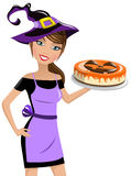 Woman witch hat halloween cheesecake isolated Royalty Free Stock Image