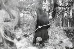 Woman in a witch suit in a dense forest Stock Photos