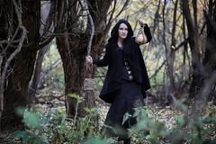 A woman in a witch suit in a forest. A woman in a witch suit in a dense forest on a ritual stock photo