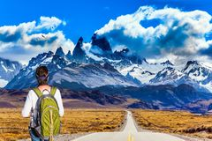 Free Woman With A Backpack Is Standing To Mount Fitz Roy Royalty Free Stock Photo - 103001175