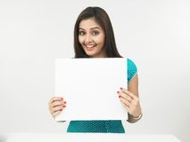 Woman With A Blank Placard Stock Photos