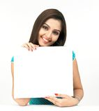 Woman With A Blank Placard Stock Photo
