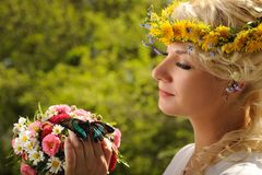 Woman With A Butterfly Royalty Free Stock Images