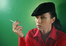 Woman With A Cigarette Stock Photography