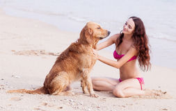 Woman With A Dog Royalty Free Stock Photo