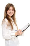 Woman With A Folder Royalty Free Stock Photos