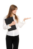 Woman With A Folder Holding Hand Presenting Stock Image