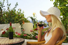Free Woman With A Glass Of Wine Royalty Free Stock Image - 10637266