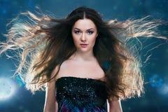 Woman With A Long Beautiful Hair Stock Photos
