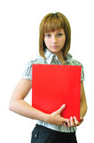 Woman With A Red Folder Stock Photo
