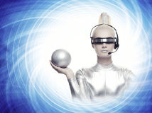 Free Woman With A Silver Ball Royalty Free Stock Photo - 10974175