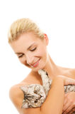 Woman With Adorable Kitten Royalty Free Stock Images