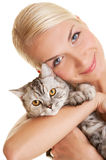 Woman With Adorable Kitten Royalty Free Stock Image