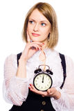Woman With An Alarm Clock Stock Images