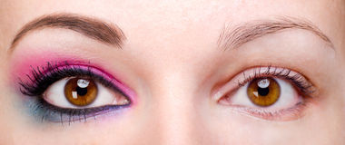 Free Woman With And Without Eye Makeup Royalty Free Stock Image - 27620656