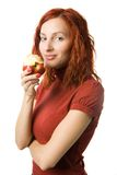 Woman With Apple Royalty Free Stock Images