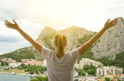 Free Woman With Arms Wide Open. Royalty Free Stock Images - 128690069