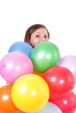 Woman With Balloons. Royalty Free Stock Photo