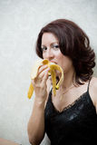 Woman With Banana Stock Images