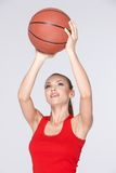 Woman With Basket Ball Royalty Free Stock Photos
