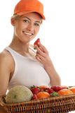 Woman With Basket Of Fruits Royalty Free Stock Images