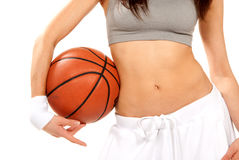 Woman With Basketball Royalty Free Stock Photography