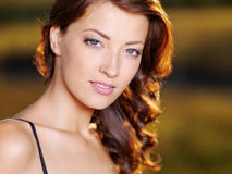 Woman With Beautiful Face Outdoors Stock Photos