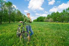 Free Woman With Bicycle Stock Image - 14493741