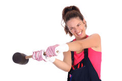 Woman With Black Rubber Mallet Stock Photo