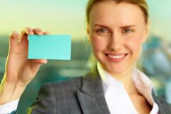 Woman With Blank Card Stock Images