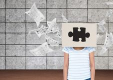 Woman With Box On Her Head And Papers Flying In Background Royalty Free Stock Photos