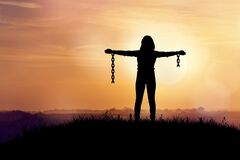 Free Woman With Broken Chains. Royalty Free Stock Photography - 182170947
