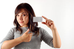 Woman With Business Card 11 Royalty Free Stock Photography