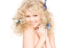 Free Woman With Butterflies In Hair Royalty Free Stock Photography - 12094097